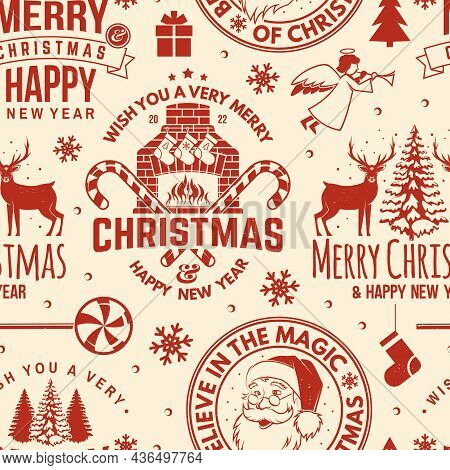 Merry Christmas And Happy New Year Seamless Pattern With Snowflakes, Hanging Christmas Ball, Santa C