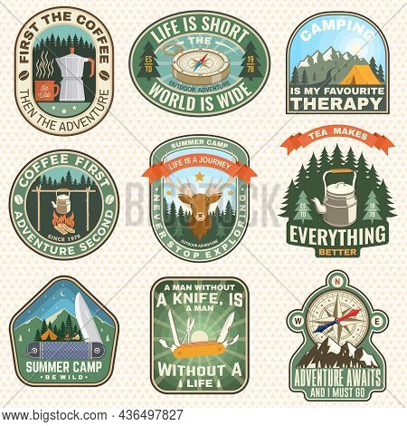Set Of Summer Camp Badges, Patches. Vector Illustration. Concept For Shirt Or Logo, Print, Stamp, Pa