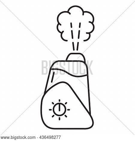 Humidifier Distributes Steam. Outline Vector Illustration. Ultrasonic Technology Evaporation Of Wate