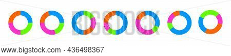 Donut Chart Examples. Circle Diagrams Divided In 4 Sections Of Different Colors. Simple Infographic