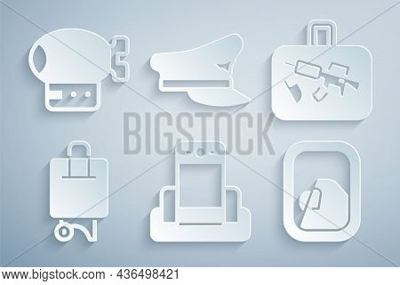 Set Metal Detector In Airport, Suitcase, Airplane Window, Pilot Hat And Airship Icon. Vector