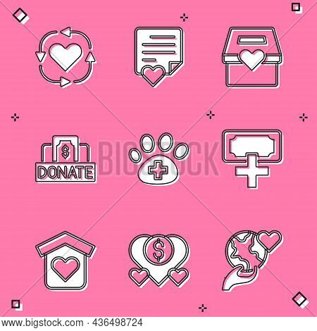 Set Volunteer, Envelope With Heart, Donation And Charity, Veterinary Clinic, Shelter For Homeless An