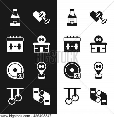 Set Gym Building, Calendar Fitness, Vitamins, Dumbbell With Heart, Weight Plate, Location Gym, Socks