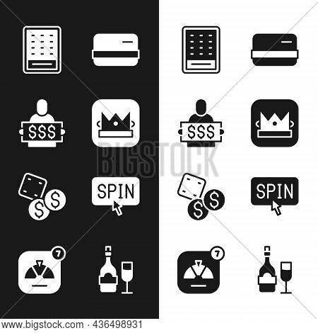 Set King Playing Card, Winner Holding Prize Ticket, Lottery, Credit, Game Dice, Slot Machine Spin Bu