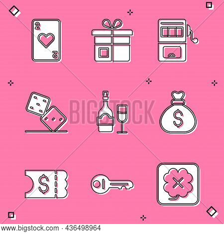Set Playing Card With Heart, Gift Box, Slot Machine, Game Dice, Champagne Bottle Glass, Money Bag, L