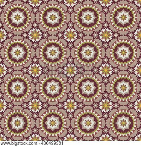 Central Asian Interlocking Medallions And Flowers, Vector Seamless Design