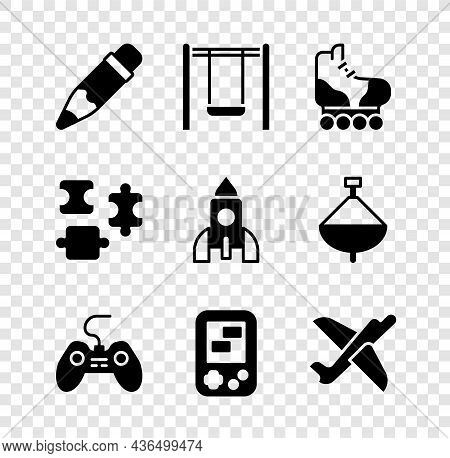Set Pencil With Eraser, Swing, Roller Skate, Gamepad, Tetris Electronic Game, Toy Plane, Puzzle Piec