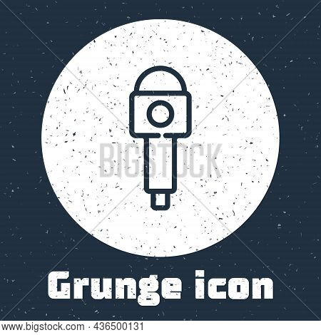 Grunge Line Microphone Icon Isolated On Grey Background. On Air Radio Mic Microphone. Speaker Sign.