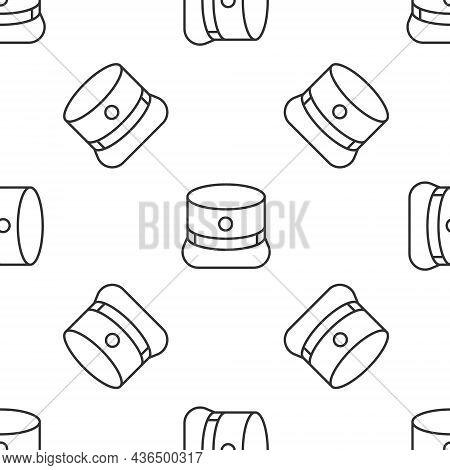 Grey Line Kepi Icon Isolated Seamless Pattern On White Background. Cap Army Uniform Headgear. Histor