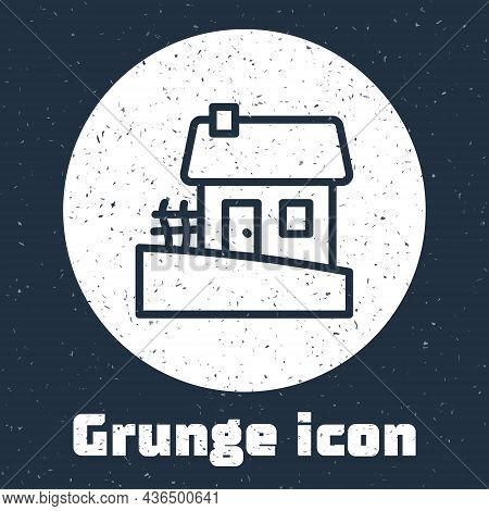 Grunge Line Old Ukrainian House Hut Icon Isolated On Grey Background. Traditional Village House. Mon