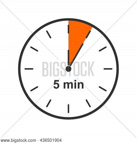 Clock Icon With 5 Minute Time Interval. Countdown Timer Or Stopwatch Symbol Isolated On White Backgr