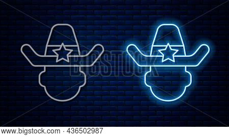 Glowing Neon Line Sheriff Cowboy Hat With Star Badge Icon Isolated On Brick Wall Background. Police