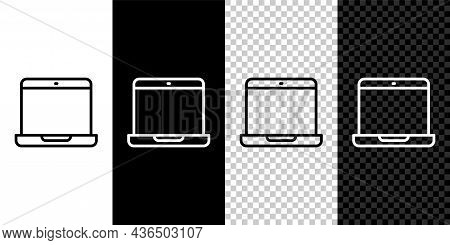 Set Line Laptop Icon Isolated On Black And White, Transparent Background. Computer Notebook With Emp