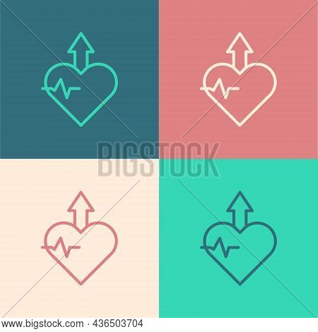 Pop Art Line Heartbeat Increase Icon Isolated On Color Background. Increased Heart Rate. Vector
