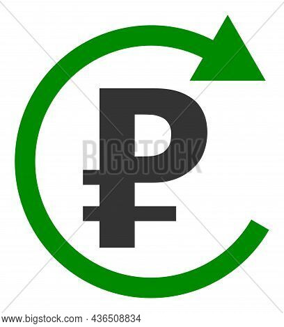 Rouble Repay Vector Icon. A Flat Illustration Design Of Rouble Repay Icon On A White Background.