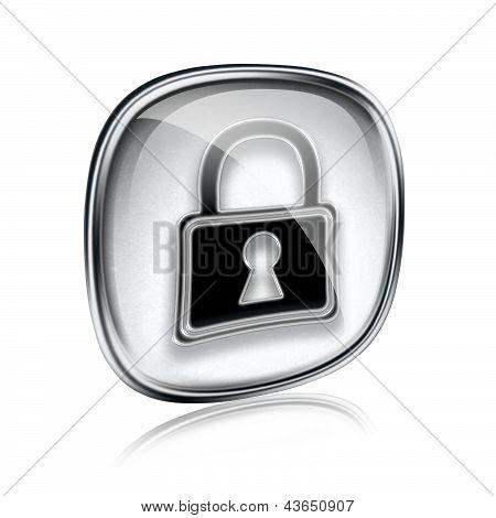 Lock Icon Grey Glass, Isolated On White Background.