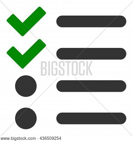 Check List Vector Icon. A Flat Illustration Design Of Check List Icon On A White Background.