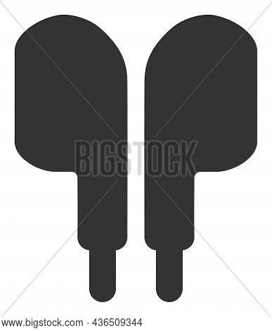 Compact Earphones Vector Illustration. A Flat Illustration Design Of Compact Earphones Icon On A Whi