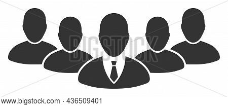 Team Boss Vector Icon. A Flat Illustration Design Of Team Boss Icon On A White Background.