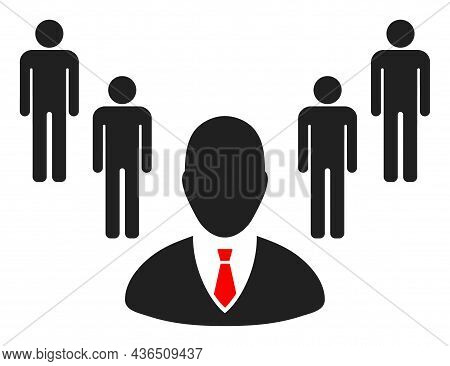 Group Boss Vector Icon. A Flat Illustration Design Of Group Boss Icon On A White Background.