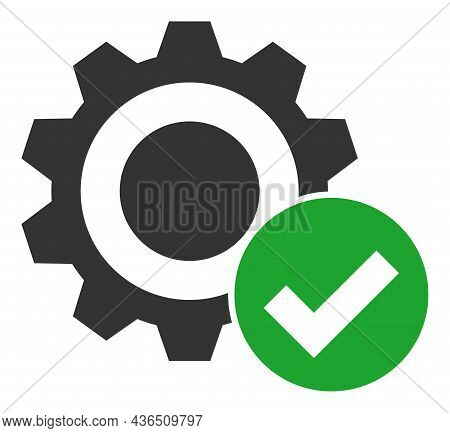 Valid Gear Vector Icon. A Flat Illustration Design Of Valid Gear Icon On A White Background.
