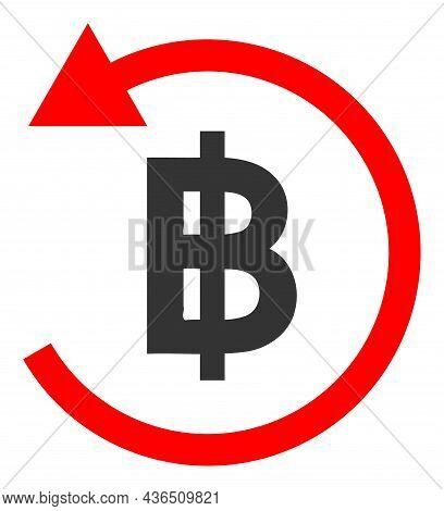 Bitcoin Refund Vector Illustration. A Flat Illustration Design Of Bitcoin Refund Icon On A White Bac