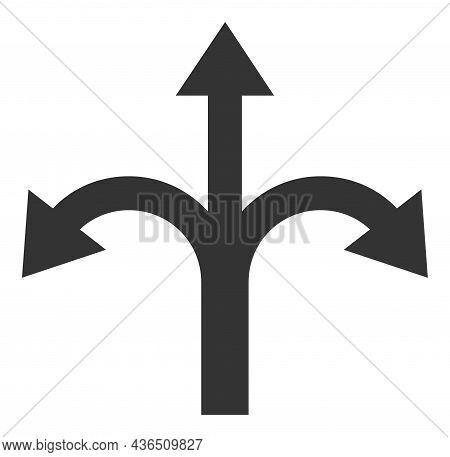 Triple Bifurcation Arrow Vector Icon. A Flat Illustration Design Of Triple Bifurcation Arrow Icon On