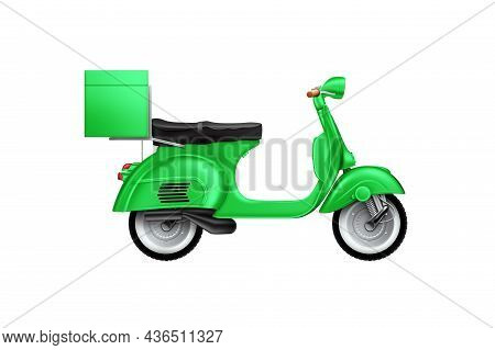 Scooter Isolated On White Background. Food Delivery Concept, New Technologies, Last Mile. 3D Illustr