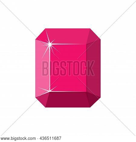 Square Red Gemstone. Ruby Top View. Cartoon Vector Illustration Isolated In White Background