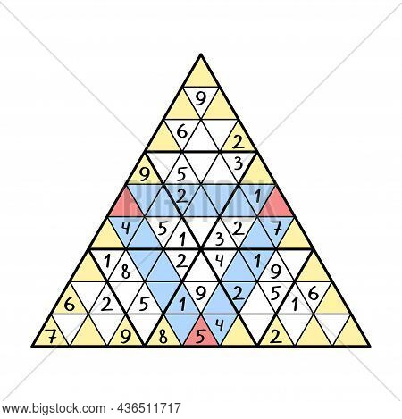 Colorful Triangle Sudoku Game For Children Vector Illustration. Complete Number Puzzle - Place 1-9 N