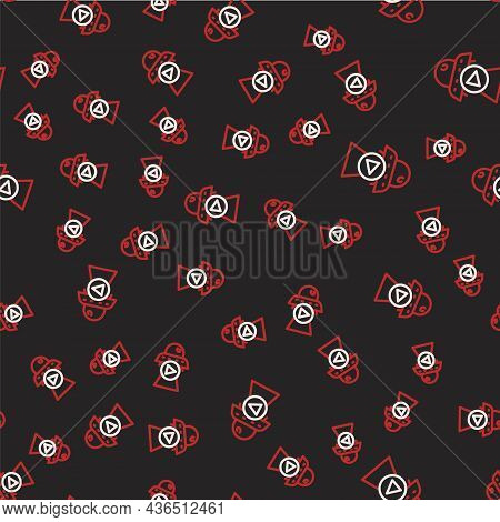 Line Science Fiction Icon Isolated Seamless Pattern On Black Background. Sci Fi Movies, Popular Futu