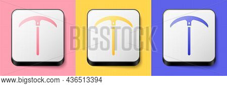 Isometric Pickaxe Icon Isolated On Pink, Yellow And Blue Background. Square Button. Vector