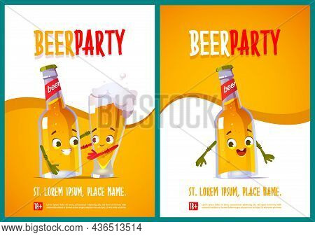 Beer Party Posters With Cute Characters Of Bottle And Glass. Vector Flyers With Cartoon Illustration