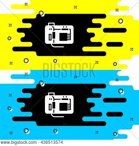 White Electronic Computer Components Motherboard Digital Chip Integrated Science Icon Isolated On Bl