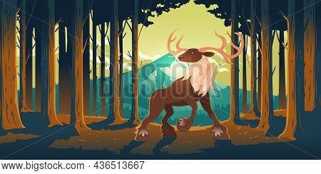Deer In Forest, Wild Animal, Beautiful Stag With Antlers On Nature Background With Trees And Mountai