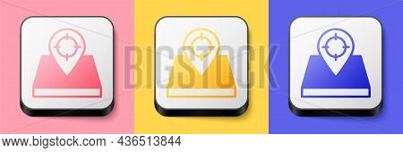 Isometric Hunt Place Icon Isolated On Pink, Yellow And Blue Background. Navigation, Pointer, Locatio