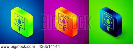 Isometric Recycle Clean Aqua Icon Isolated On Blue, Purple And Green Background. Drop Of Water With