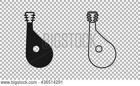 Black Ukrainian Traditional Musical Instrument Bandura Icon Isolated On Transparent Background. Vect