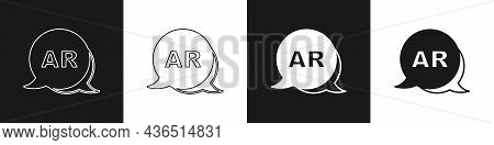 Set Augmented Reality Ar Icon Isolated On Black And White Background. Virtual Futuristic Wearable De
