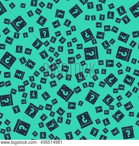 Black Mystery Box Or Random Loot Box For Games Icon Isolated Seamless Pattern On Green Background. Q