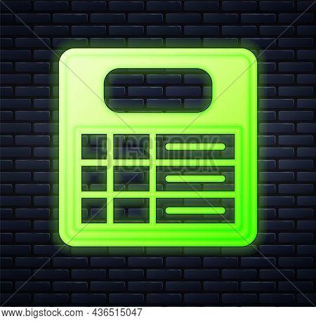 Glowing Neon Train Station Board Icon Isolated On Brick Wall Background. Mechanical Scoreboard. Info