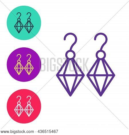 Set Line Earrings Icon Isolated On White Background. Jewelry Accessories. Set Icons Colorful. Vector