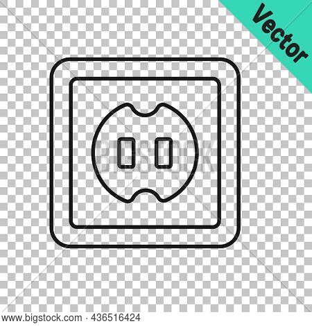 Black Line Electrical Outlet Icon Isolated On Transparent Background. Power Socket. Rosette Symbol.