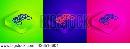 Isometric Line Gamepad Icon Isolated On Green, Blue And Pink Background. Game Controller. Square But