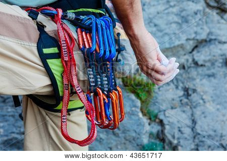 Climber With His Equipment On Belt Is Ready To Make His Way Up