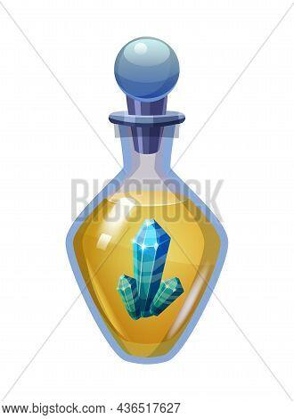Bottle Magic Potion With Crystal. Game Icon Asset, Glass, Liquid Elixir, Poisine, Flask, Vector Illu