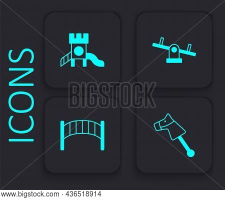 Set Toy Horse, Slide Playground, Seesaw And Playground Kids Bridge Icon. Black Square Button. Vector