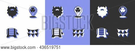 Set Carnival Garland With Flags, Mustache Beard, Wooden Barrel On Rack And Clover Trefoil Leaf Icon.