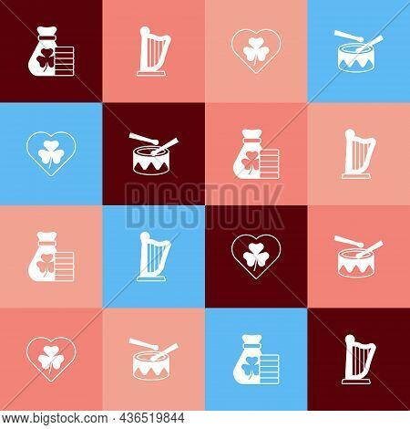Set Pop Art Money Bag With Clover, Harp, Heart Trefoil Leaf And Drum Drum Sticks Icon. Vector