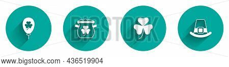 Set Balloon With Clover Trefoil Leaf, Pot Of Gold Coins, Clover And Leprechaun Hat Icon With Long Sh